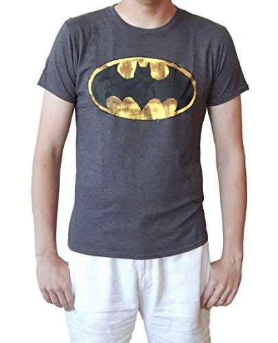 Batman Brushed Logo Adult Mens Soft Cotton/Poly Charcoal Tee Shirt