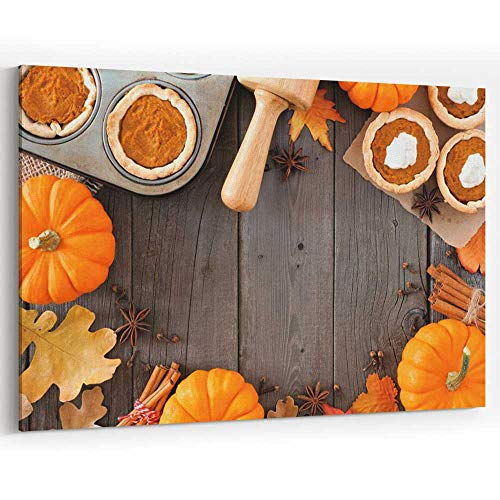 Autumn Baking Frame with Pumpkin Pie tarts Over Wood Canvas Art Wall Dcor,Modern Home Decor