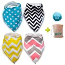 Baby Bandana Drool Dribble Bibs Burp Cloths for Drooling 4Pack Cotton Gift Set