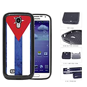 Cuba Flag Red Triangle and White Blue Stripes Grunge 2-Piece High Impact Dual Layer Black Silicone Cell Phone Case Samsung Galaxy S4 I9500 by Maris's Diary