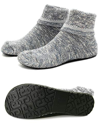 Women Slipper Socks Warm Thick Home Fuzzy Socks with Soles Rubber Bottom Non Skid Wearable (M (Shoes Size 6.5-7.5), Thick Gray)