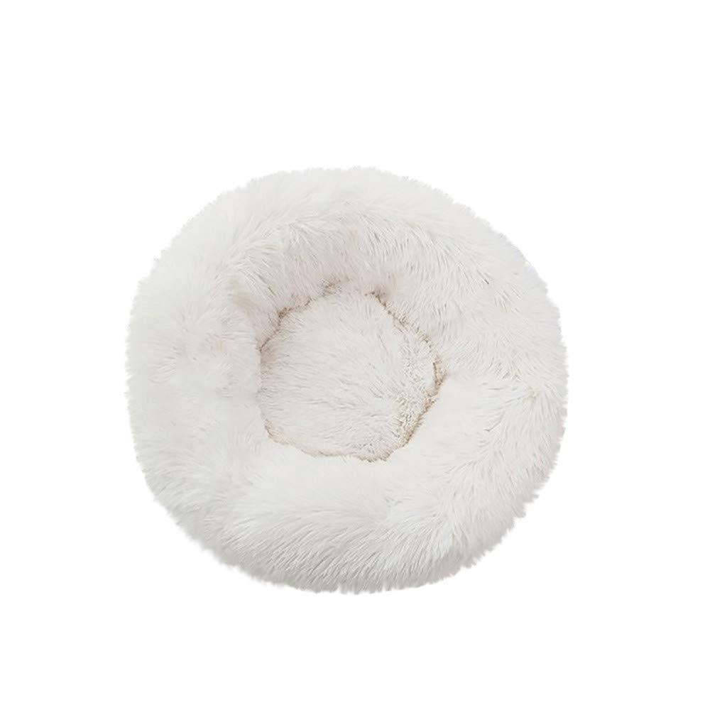 FunDiscount Dog Bed Faux Fur Fluffy Self-Warming Cat and Dog Cushion Comfortable Soft Plush Donut Cuddler Round Pet Bed for Small Medium Dog Cozy Kitty Teddy Sleeping Kennels Dark Gray, Medium