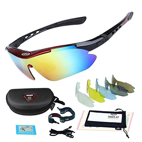 VOVOSS Outdoor Cycling Glasses HD PC Sports Sunglasses Polarized Light Anti-UV Eye Protection Men and Women Goggles Comes with 5 Interchangeable Lenses, 001