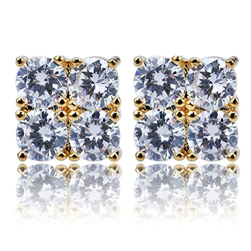 Hip Hop Iced Out Big Square Flat Screen Block Screw Back Stud,925 Sterling Silver 4 and 9 Palaces Zirconia Earring For Men (925 Silver Gold 4 Palaces)