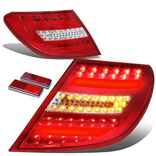 For Mercedes-Benz W204 C-Class AMG Red Housing Clear Lens 3D LED Rear Tail Brake + Corner Signal Light
