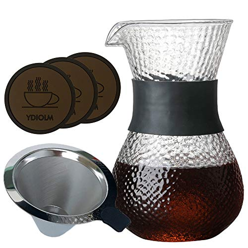600ml(20.3oz) Pour Over Coffee Maker Set with Reusable Stainless Steel Drip Filter Elegant Coffee Dripper Pot Glass Carafe & Permanent Stainless Steel Filter (600ml Pour Over Set) (600 Accent Furniture)
