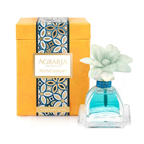 AGRARIA PetiteEssence Luxury Fragrance Diffuser Mediterranean Jasmine Scent, Includes 1 Sola Flowers and 7 Reeds