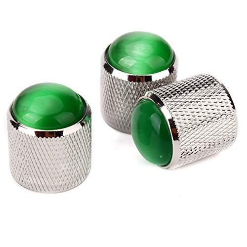 DN Alloy Gold Three Circle Dome Knobs + Green Glass Top for Guitar Bass (Pack of 3) DN10105925