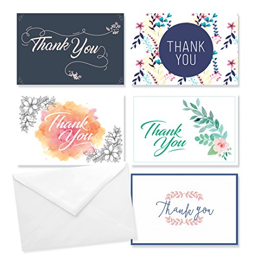 Rembrandt Thank You Cards Set of 30 - 5 Unique Designs - Note for Occasions Such as a Baby Shower, Birthday, Graduation, Weddings, Bridal (Floral Monogram Note Card)