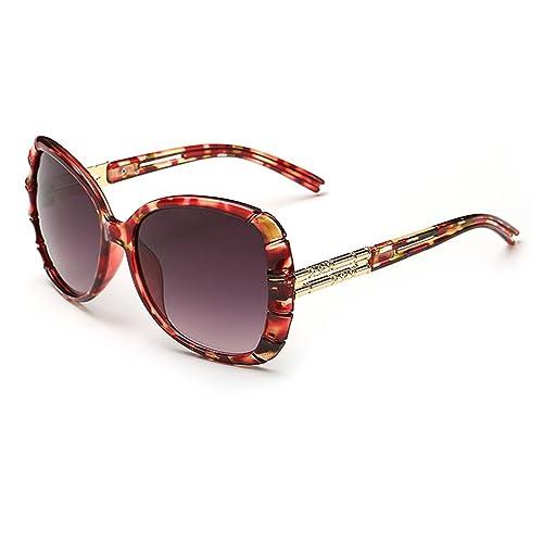 Smileyes TSGL012 2017 Colección Nueva Gafas de Sol Con AC Lente UV400 Coloradas Grandes Modernas Elegantes Casuales para Mujer (Rojo)