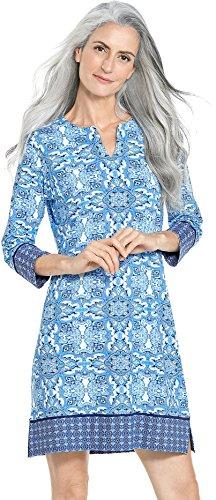 (Coolibar UPF 50+ Women's Oceanside Tunic Dress - Sun Protective (Medium- Brilliant Blue Midsummer Medallion) )