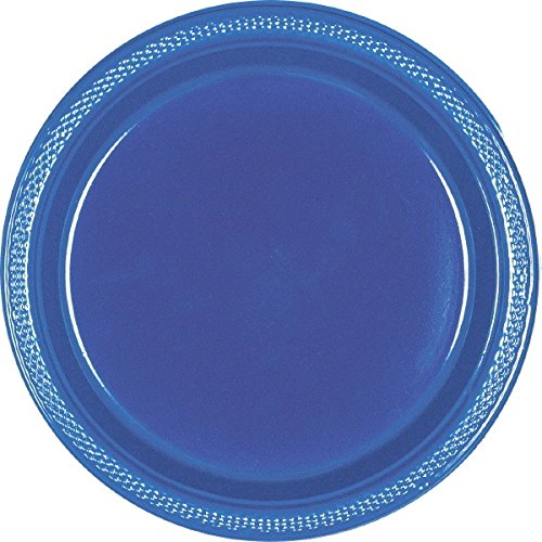 Amscan Reusable Party Round Dinner Plates (20 Piece), Navy Blue, 9 x 9