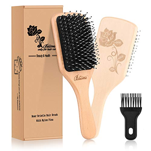 Hair Brush-[Upgraded] Boar Bristle Hair Brush with Detangling Pins for Thick Curly Long Dry or Wet Hair,Natural Wooden Paddle Detangler Brush for Women Men Adding Shine,Hair Brush Cleaner Included ... (Best Flat Hair Brush)