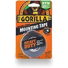 "Gorilla 6055001 Heavy Duty Mounting Tape, Double-Sided, 1"" x 60"", Black"
