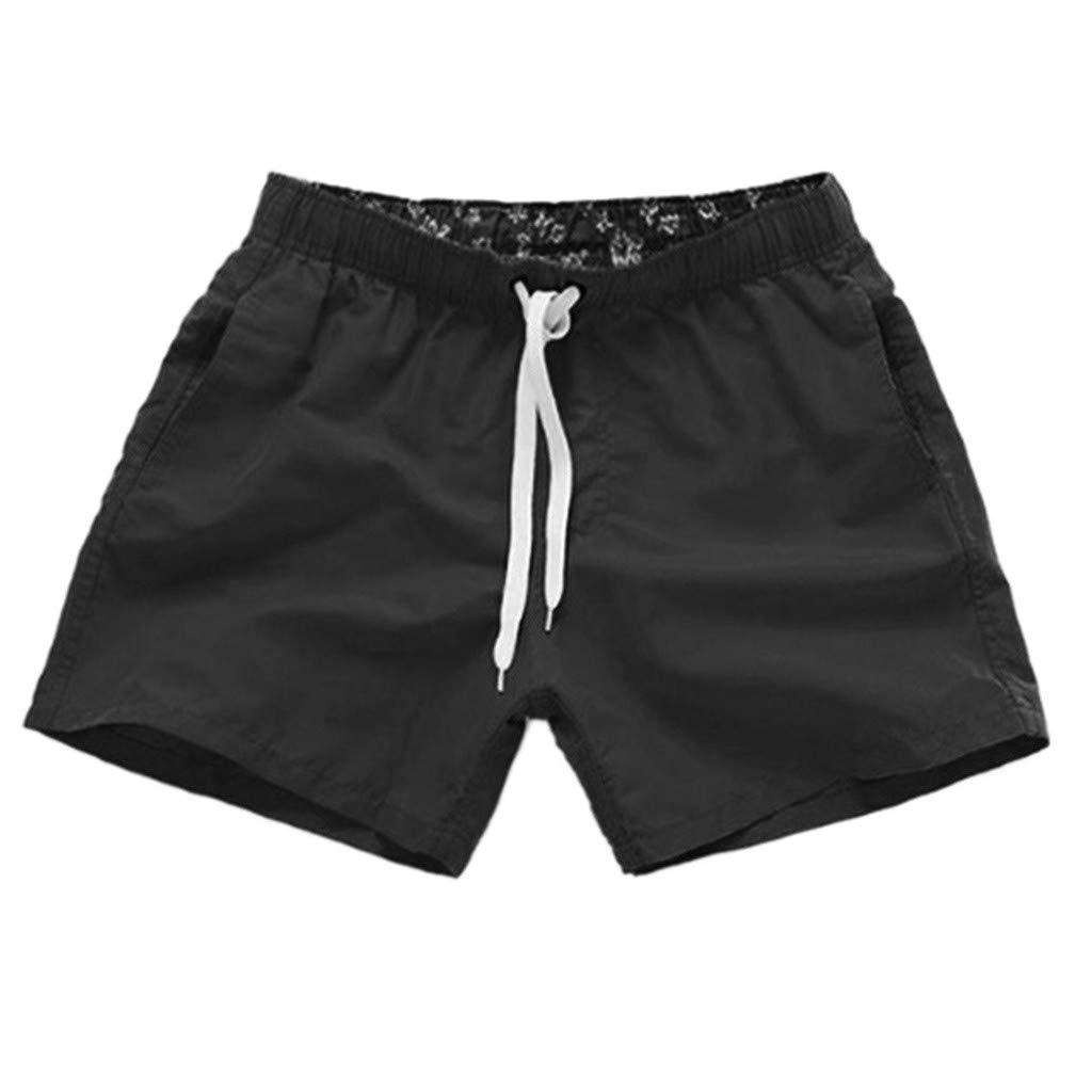 NUWFOR Men Pure Color Splice Stripe Beach Work Casual Men Short Trouser Shorts Pants(Black,US S Waist:27.56-32.28'')