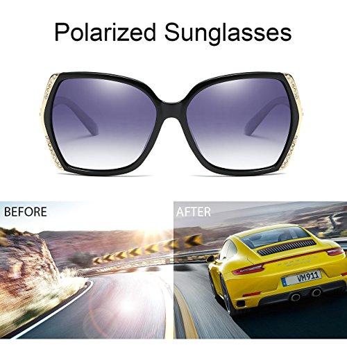 Oversized Polarized Sunglasses for Women Polarized Vintage Luxury Eyewear (Black/Grey) by BAVIRON (Image #4)