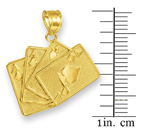 14k Gold Playing Cards Good Luck Charm Four of a Kind Pendant Necklace