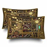 InterestPrint Retro Vintage Steampunk Clocks Dials Mechanical Gears Pillow Cases Pillowcase Standard Size 20x30 Set of 2, Rectangle Pillow Covers Protector for Home Couch Sofa Bedding Decorative