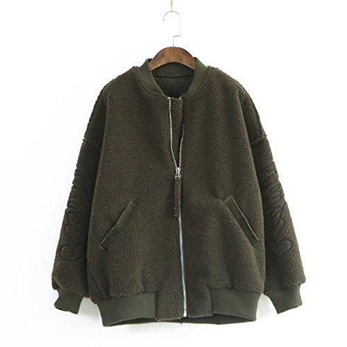 Solido Cerniera Cappotto Tasca Del Verde Colore Manica Lunga Rotondo Rivestimento Dyf Militare Di Allentato Colletto Con wEOPxXqn