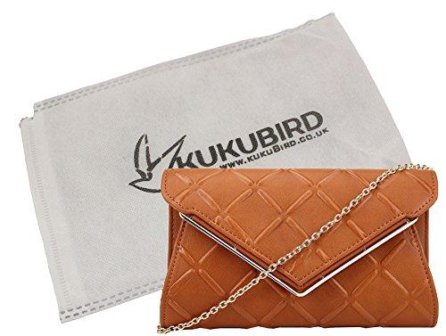Liv Kukubird Cruz Portilla Prom fiesta Metal V detalle cadena correa para el hombro bolso de embrague bolso con bolsa de Kukubird en relieve Brown