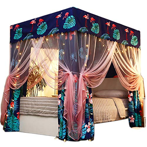 (Obokidly 2-in-1 Bedding Mosquito Net Anti-Glare Cute Four Corner Post Bed Curtain Canopy Windproof Lightproof for Girls Boys Kids Teens Gift Home Bedroom Decoration (Flamigo, California King))