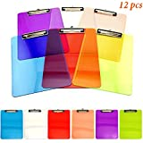 Adorox Set of 12 Standard Size Clipboards Clear Colorful Transparent Mix Assorted Colors