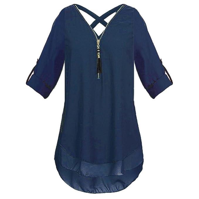 Mujeres Tops Piebo Mujer Cuello en V Cremallera Color Puro Gasa Camisetas Casual Tops Sueltos Blusa de Túnica: Amazon.es: Ropa y accesorios