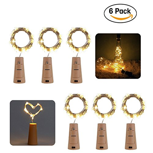 6-Pack 20LED Wine Bottle String Light, GuanYuanGuang 2M/6.6Ft Flexible Copper Wire Fairy Starry Decor Lights for Bedroom, DIY, Parties, Valentines Day, Built-in 3pc Button Cell (Warm White)