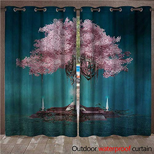 Hanging Estrella Outdoor (WilliamsDecor Magical Home Patio Outdoor Curtain Magical Blossom Plant Hanging in Air Rootless Free Plant Supernatural Image W84 x L108(214cm x 274cm))