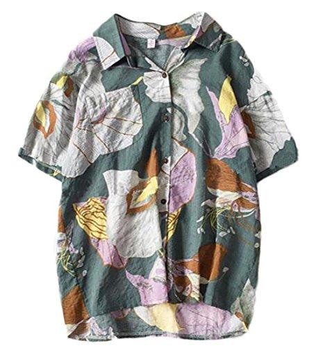 暴行戸惑う湿地[トーダー] レディース アロハシャツ 花柄 プリント ハワイシャツ ポロネック 薄手 半袖 ゆったり 海 ビーチ 夏 カジュアル