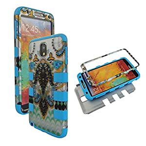 Hybrid Tuff Blue Green Paisley Samsung Galaxy note 3 III N9000 Case Cover Hard Phone Case Snap-on Cover Rubberized Touch Faceplates