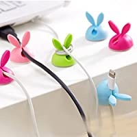 Cable Clips 4pcs Adhesive Wire Holder Rabbit,Desktop Cable Organizer,Earphone Ties Organizer USB Charger Wire Cord Desk Fixer Holder Tidy Collation for Computer Electrical Charging by Baixt
