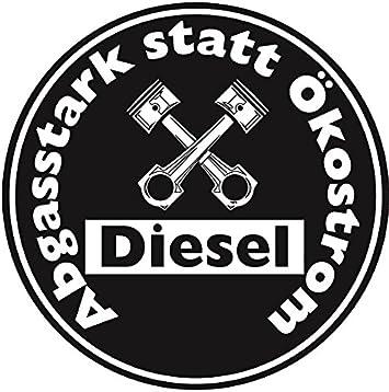 Abgasstark Statt Ökostrom Aufkleber Sticker Schwarze Umwelt Plakette Diesel Jdm 2 Stück Fun Lustig Umweltzone Fahrverbot Autoaufkleber Lkw Auto