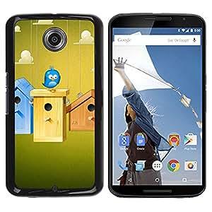 Qstar Arte & diseño plástico duro Fundas Cover Cubre Hard Case Cover para Motorola NEXUS 6 / X / Moto X Pro ( Birdhouse Blue Bird Sky Clouds Funny Home)