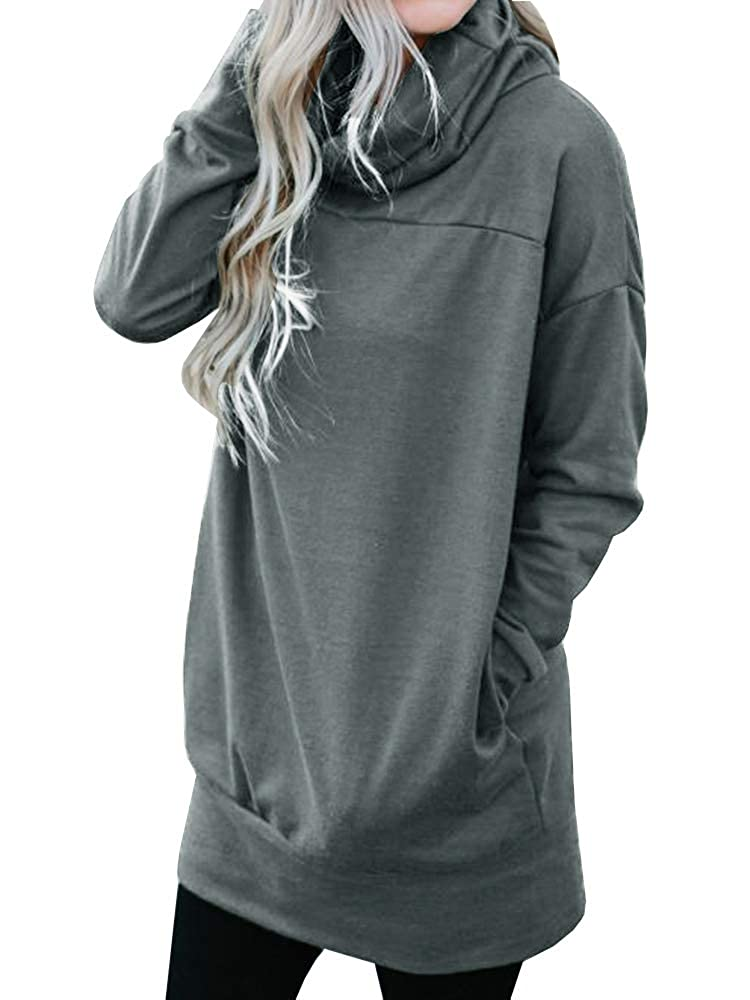 017d56dc7 Features: Plus size, Cowl neck, Long sleeve, Loose fitting, Plain color,  Pullover, Basic, Sweatshirts, Hoodies, Casual, Pockets, Tunic tops.