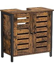 VASAGLE szafka pod umywalkę, szafka łazienkowa, 60 x 30 x 60 cm, rama stalowa, szafka do przechowywania, z 2 drzwiami płytowymi, regulowane półki, wzornictwo przemysłowe, vintage brązowo-czarny BBC902B01