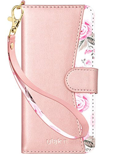 ULAK Galaxy S9 Wallet Case, Galaxy S9 Case Protective Floral PU Leather Wallet with Stand Card Holder ID Slot and Hand Strap Shockproof TPU Cover for Samsung Galaxy S9 5.8 Inch, Rose Gold