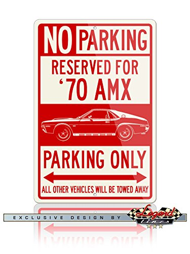 1970 Coupe - AMC AMX 1970 Coupe Reserved Parking Only Aluminum Sign - 12 by 18 inches (1, Large) - Great American Classic Car Gift