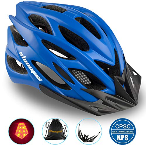 Basecamp Specialized Bike Helmet, Bicycle Helmet CPSC&CE Certified with Helmet Accessories-LED Light&Removable Visor&Portable Bag Cycling Helmet BC-DDTK Adjustable for Adult Men/Women(Blue) (With Helmet Iron Man Removable)