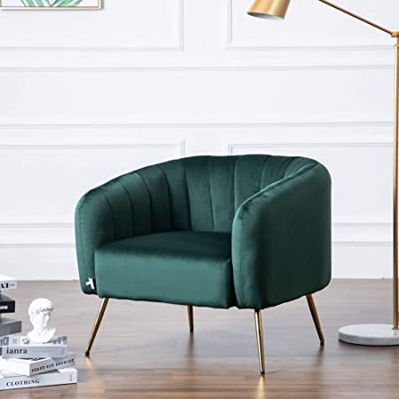 Green Upholstered Fabric Tub Armchair Single Sofa Seater Chair Wooden Legs Frame