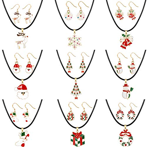 Christmas Leather Choker pendant Necklace Drop Dangle Earrings Gift For Womens Girls Kids Thanksgiving Holiday Jewelry Set Including Christmas Snowman Snowflake Sock Santa Claus Christmas Tree Bell]()