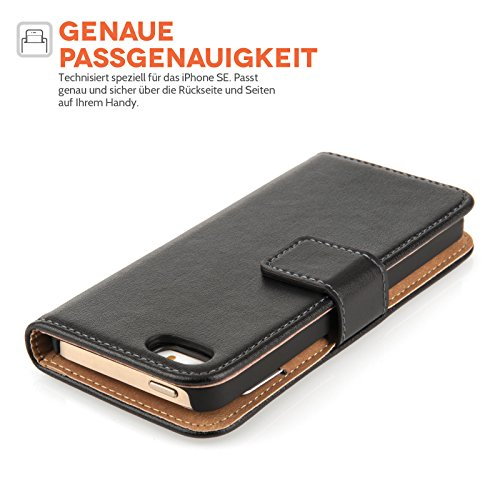 Caseflex iPhone SE Tasche Schwarz Echt Leder Brieftasche Hülle