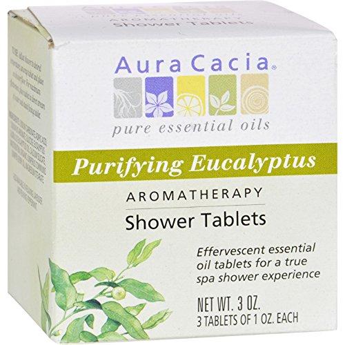 Eucalyptus Aroma - Aura Cacia Purifying Aromatherapy Shower Tablets Eucalyptus - 3 Tablets - Offer true aromatherapy benefits via organic essential oils