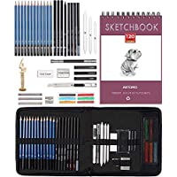 Drawing Pencils Art Sketching Set Supplies - Complete Artist Kit Includes Charcoals, Pastels,Sketch Pad,Zippered Carry Case and drawing mannequin