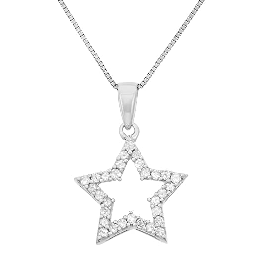 Amazon 14 cttw sterling silver star diamond necklace jewelry 14 cttw sterling silver star diamond necklace aloadofball Image collections
