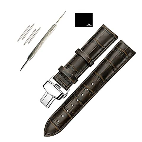 TON CHARME Genuine Leather Watchband Butterfly Deployment Push Clasp Buckle Stainless Steel Buckle (20mm, Dark - Stainless Steel Butterfly Deployment Clasp