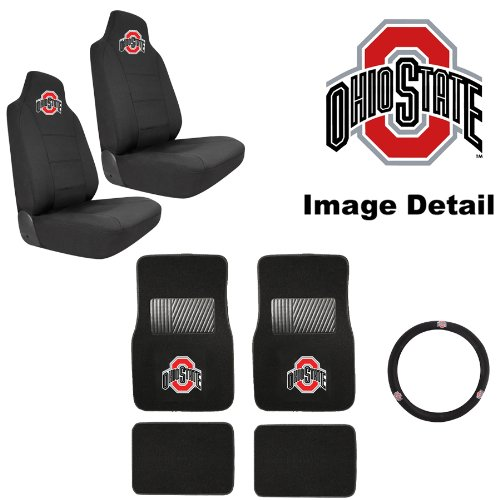 Amazon 7PC OSU Ohio State University Buckeyes Car Truck SUV Front Rear Seat Carpet Floor Mats W Universal Fit Bucket Covers Steering Wheel