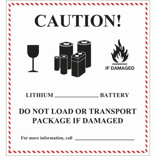 Tape Logic DL1397 Labels,Caution - Lithium Battery Handling, 4 5/8'' x 5'', Black/White/Red, 500 Per Roll by Tape Logic