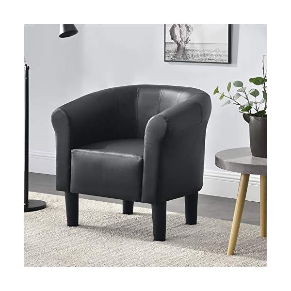 [en.casa] Fauteuil Chaise Siège Similicuir Plastique Noir 70 x 70 x 58 cm
