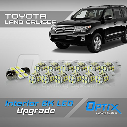 Optix 13pc 2008+ Toyota Land Cruiser LED Interior Light Package Replacement Set - White (Cruiser Land Led Toyota)